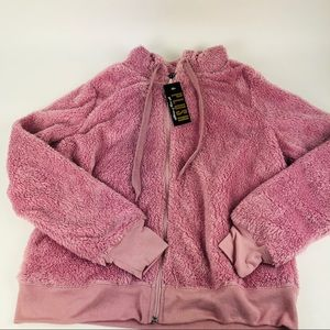 Fifth Sun Plush Hoodie Full Zip Pink Size M New